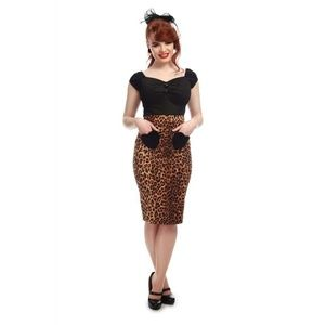 nwt sexy collectif leopard midi skirt size small